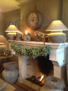 Love the fireplace. Hate the urns. Decor, Fireplace Mantle, Fireplace Design, Home Decor, Home Deco, Rustic Living, Cozy Room, Fireplace, Home And Living