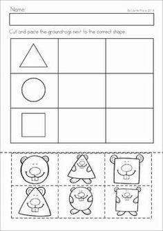 Groundhog Day Preschool Math and Literacy No Prep worksheets and activities. A page from the unit: shape sorting cut and paste