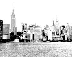 New York City Skyline – Made in NYC – Black and White Sketches of Midtown Manhattan - comic style cityscape series on Etsy, $22.00