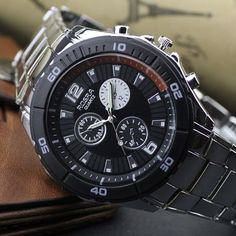 WIN NOW: Silvery Stainless Steel Black Watch