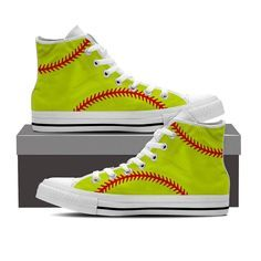 Show how much you love Softball off the field with these softball themed high top shoes. - Full canvas double sided print with rounded toe construction. - Lace-up closure for a snug fit. - Soft textil