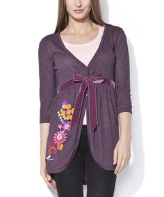 Take a look at this Prune & Yellow Floral Colette Cardigan on zulily today!