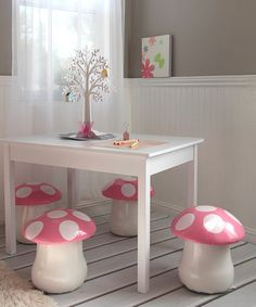 Another great find on #zulily! Kid's Mushroom Chair - Set of Two #zulilyfinds This would be so cute for a fairy theme party and later for a playroom.