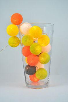 20 Lights   Lemon Orange Set  5 Color Cotton Ball by YooCotton