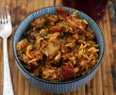 Rice cooker caribbean-style chicken and rice pilau