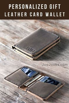 JooJoobs Credit Card Wallet Best Wallet on Etsy Personalized design is made from distressed leather Best Men accessories All products are handmade Christmas gifts for him Birthday gifts Father's d Personalized Leather Wallet, Handmade Leather Wallet, Leather Card Wallet, Personalized Gifts, Mens Bifold Leather Wallet, Travel Accessories For Men, Leather Accessories, Special Gifts For Him, Leather Wallet Pattern