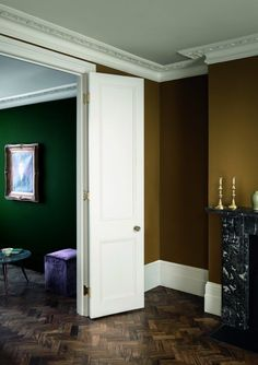 Explore stunning interior paint and wallpaper design inspirations from Paint & Paper Library. Like this living room colour scheme using green & yellow paint. Interior Paint, Interior And Exterior, Interior Design, Interior Rendering, Home Living, My Living Room, Room Colors, Wall Colors, Paint And Paper Library