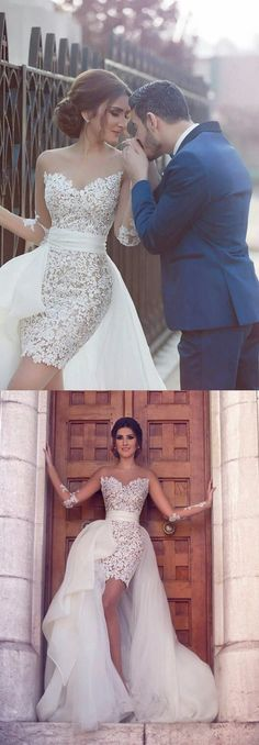 Sweetheart Long Sleeve Wedding Dress with Detachable Train Latest Short Lace Bridal Gown , PD0226 #weddingdress