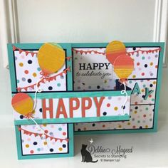 So Much Happy Celebrations at the Alphabet Challenge Flip Cards, Fun Fold Cards, Folded Cards, Cool Cards, Birthday Fun, Birthday Cards, Window Cards, Card Making Tutorials, Scrapbook Cards