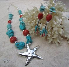 Starfish Turquoise Coral Red and Silver by QueenBeeByTheSea, $60.00