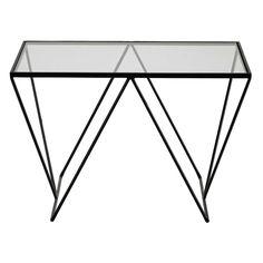 Bijzettafel, zwart metaal met glazen blad, lengte 60 cm, ARCHY