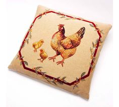 Hen and Chicks Tapestry Cushion
