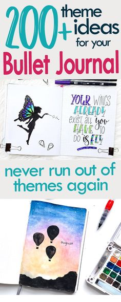 The ultimate bujo theme list with over 200 ideas to try for your next month's bullet journal setup #bulletjournaltheme #bulletjournalideas #bulletjournalinspiration #bujo #journaling #journalideas #doodles #art #planner