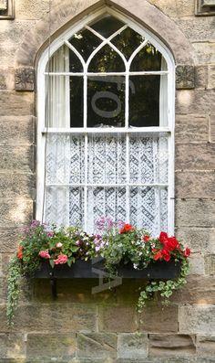 Ripley, Yorkshire, UK window flower box