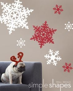 (can be done in any 2 colors) Snowflake Wall Decals  set of 13  Deluxe Holiday by SimpleShapes, $39.00