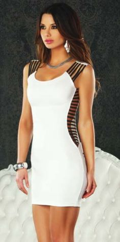 "Marbella - Little white dress with black elastic shoulder ""FP - 883819"" - Clubwear and Sexy Dresses"