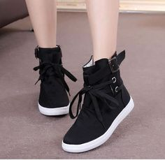 Canvas Women Buckle Hiking Flats Lace Up High Top Boots Sports Sneakers Shoes Sz