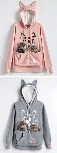 Looking on this cute hoodie, the latest must-have custom for cat lovers that allows you to carry your feline friend around with you in a kangaroo-like pouch.