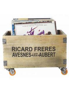 Housedoctor+Kist+van+hout+op+wielen+45x32xH27cm,+Storage+wheels,+Richard+Freres+wood