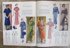 Pictorial Review Fashions Pattern Book, Summer 1936 featuring 8293 and 8320 on the left page, 8309 and 8322 on the right page
