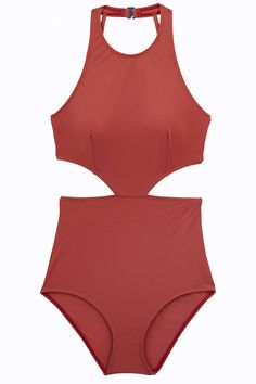 Lynn one piece monokini with high, supportive neckline, cutouts at sides and strappy back. Hooks closure at neck and offers UPF50+ protection. Made from Italian four-way stretch material that is anti-pill, anti-bacterial, chlorine resistant, and quick-drying. #highneck #sexy #beach #swimsuit