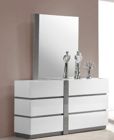 Seville – Dresser and Mirror, Its White color will brighten up your room to look clean, sleek, and modern touch you are looking for. Its special features a high gloss white and gray.
