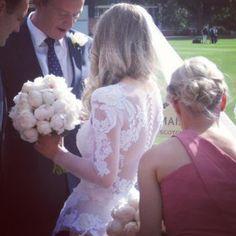 Gorgeous lace back and peplum wedding dress from Australian designer Jane Hill