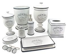 french bath accessories | ... and white french apothecary bath accessories that i m in love with