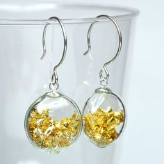 Gold leaf flat round blown glass sterling silver earrings