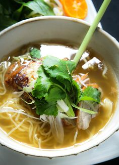 Roast duck pho with star anise, ginger, egg noodle, foie gras & lemongrass.