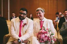 And not just the men in suits, a fun pair look. Photography by Lifestorieswedding.com