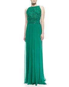 Sleeveless Lace-Bodice Chiffon-Skirt Gown, Elm Green