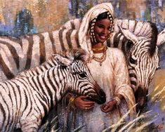 0099 - Karl Bang beauty with zebras Arte Zebra, Zebra Kunst, Zebra Art, Black Girl Art, Black Women Art, Black Art, Art Girl, African American Art, African Art