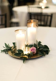 Diy Wedding Centerpieces Ideas On A Budget Cake Table Decoration Simple Centerpiece Candle Purple Greenery