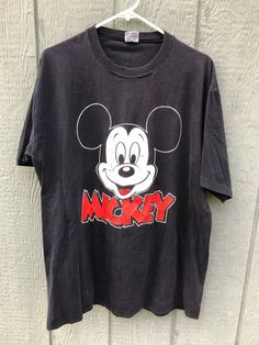 Vintage 1980's Disney MICKEY MOUSE Black Cotton T-Shirt XL #Disney