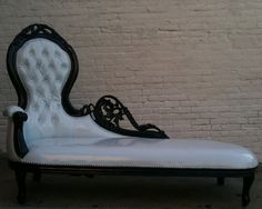 Shiny White Vinyl & Black Wooded Frame French Chaise Lounge Sofa Vintage Hollywood Regency Glamor Loveseat Queen Throne Modern Accents