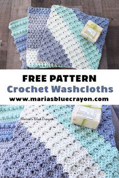 Free Crochet Washcloth Patterns – Maria's Blue Crayon - Crochet Crochet Gifts, Easy Crochet, Free Crochet, C2c Crochet, Crochet Designs, Crochet Patterns, Crochet Dish Towels, Crochet Kitchen, Blue Crayon