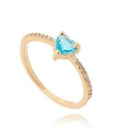 anel zirconias brancas e agua marinha semijoias ouro
