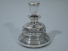Perfume Bottle Silver Overlay Clear Glass C 1910