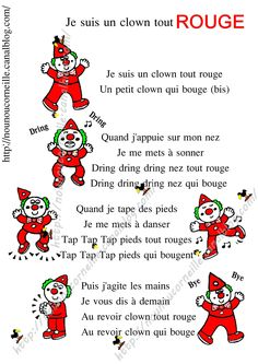 nursery rhyme I am a clown all red - Le Clown, Circus Clown, Circus Activities, Preschool Activities, Theme Carnaval, French Poems, Teaching French, Learn French, French Nails