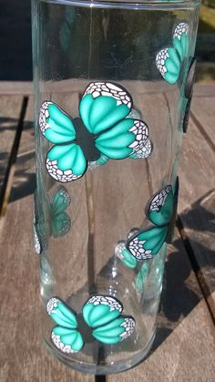 Vase with butterflies by By ME Butterflies, Polymer Clay, Glass Vase, Inspiration, Home Decor, Biblical Inspiration, Decoration Home, Room Decor, Butterfly