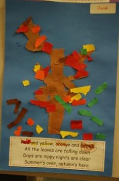 Ripped paper autumn tree with poem: Red and yellow, orange and brown, All the leaves are falling down. Days are cooler, nights are clear. Summer's over, autumn's here.