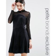 True Decadence Petite Mini High Neck Velvet Skater Dress With Mesh... ($42) ❤ liked on Polyvore featuring dresses, black, petite, velvet dress, mesh sleeve dress, skater skirt, petite dresses and skater skirt dress