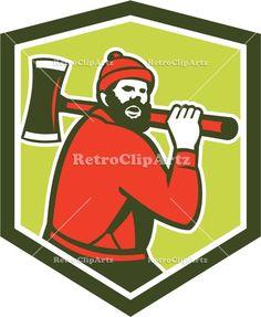 american, axe, crest, forester, illustration, isolated, logger, lumber jack, lumberjack, male, man, Paul Bunyan, retro, shield, worker