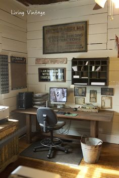 Vintage office - l nice old signs, chair, wall boards - - very homey!:
