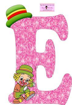 EUGENIA - KATIA ARTES - BLOG DE LETRAS PERSONALIZADAS E ALGUMAS COISINHAS: Alfabeto Patati e Patata Rosa Letter E, Alphabet Letters, Summer Camp Games, School Frame, Send In The Clowns, Clowning Around, Christmas Lanterns, Circus Theme, Family Games