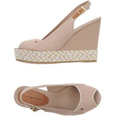 Tommy Hilfiger Sandals (345 RON) ❤ liked on Polyvore featuring shoes, sandals, beige, tommy hilfiger shoes, wedge heel shoes, beige shoes, leather buckle sandals and beige leather sandals