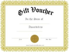 printable voucher  Free printable gift voucher template. Instant download. No ...