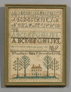 "Sampler         ....wrought by Eliza J Sewall AE 11 YE"", July 12 1827, Chesterville, Franklin County, Maine"