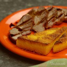Pork Tenderloin With Polenta recipe Polenta Recipes, Pork Recipes, Great Recipes, Snack Recipes, Favorite Recipes, Polenta Cakes, Recipies, Cooking Dishes, Cooking Recipes